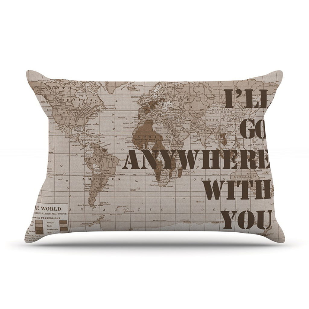 "Catherine Holcombe ""I'll Go Anywhere With You"" Brown Map Pillow Sham - KESS InHouse"