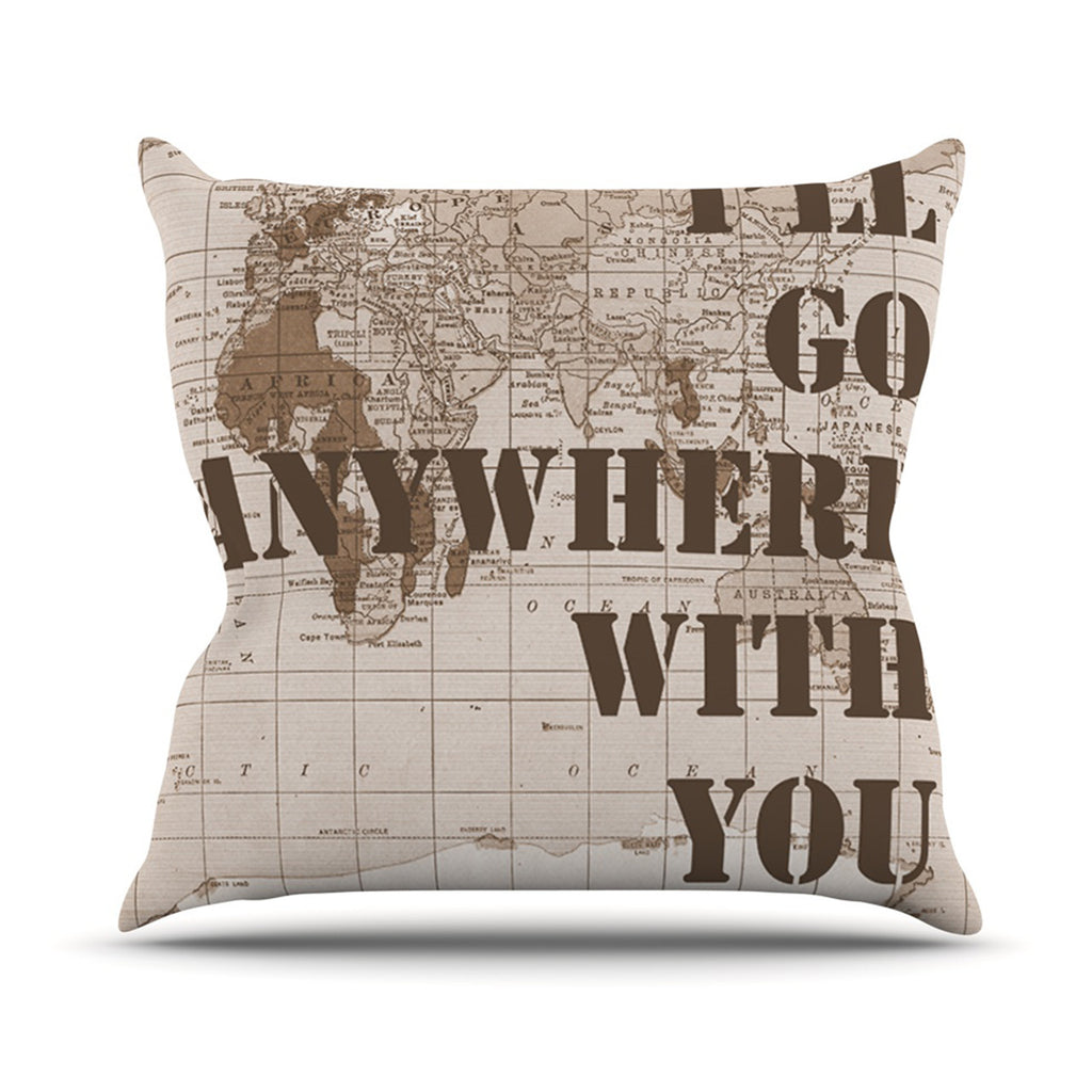 "Catherine Holcombe ""I'll Go Anywhere With You"" Brown Map Outdoor Throw Pillow - KESS InHouse  - 1"
