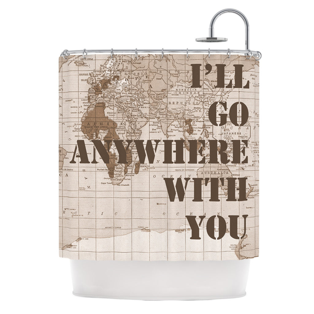 "Catherine Holcombe ""I'll Go Anywhere With You"" Brown Map Shower Curtain - KESS InHouse"