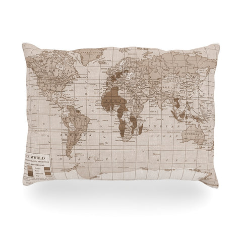 "Catherine Holcombe ""Emerald World"" Vintage Map Oblong Pillow - KESS InHouse"