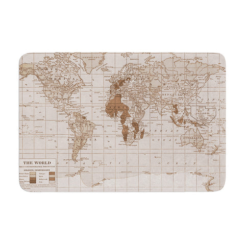 "Catherine Holcombe ""Emerald World"" Vintage Map Memory Foam Bath Mat - KESS InHouse"