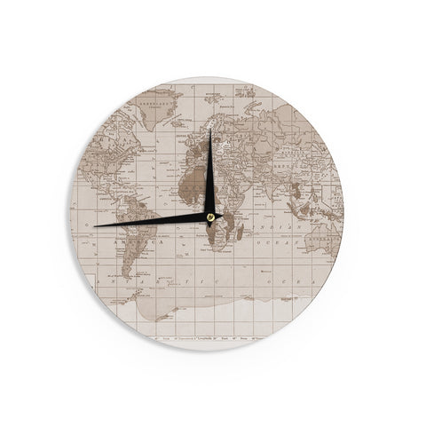 "Catherine Holcombe ""Emerald World"" Vintage Map Wall Clock - KESS InHouse"