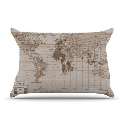 "Catherine Holcombe ""Emerald World"" Vintage Map Pillow Sham - KESS InHouse"