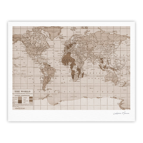 "Catherine Holcombe ""Emerald World"" Vintage Map Fine Art Gallery Print - KESS InHouse"
