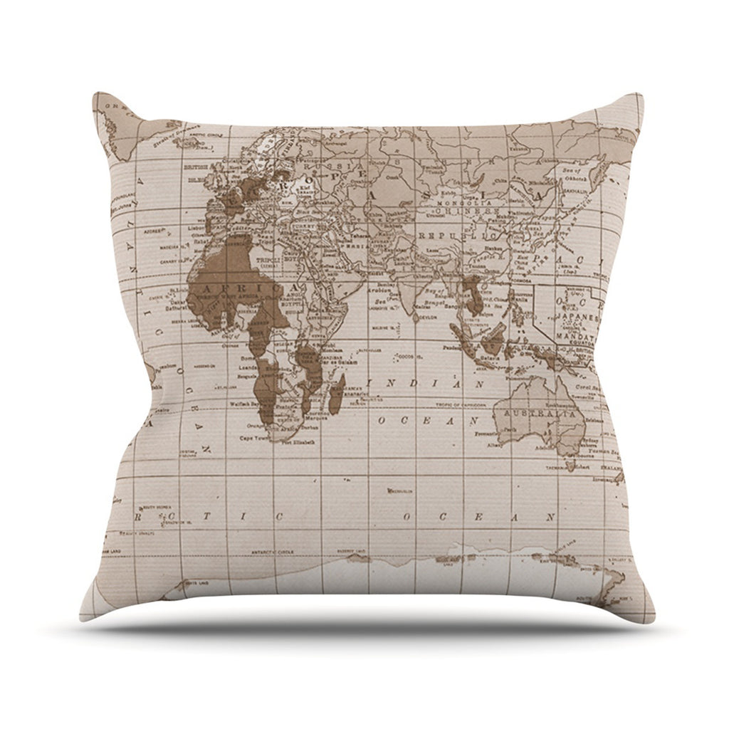 "Catherine Holcombe ""Emerald World"" Vintage Map Throw Pillow - KESS InHouse  - 1"