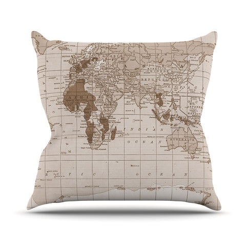 "Catherine Holcombe ""Emerald World"" Vintage Map Outdoor Throw Pillow - KESS InHouse  - 1"