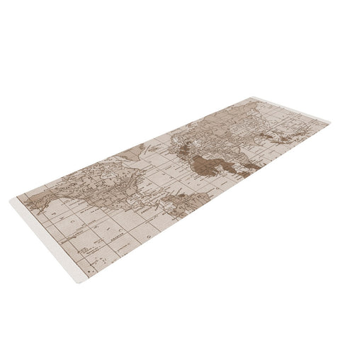 "Catherine Holcombe ""Emerald World"" Vintage Map Yoga Mat - KESS InHouse  - 1"