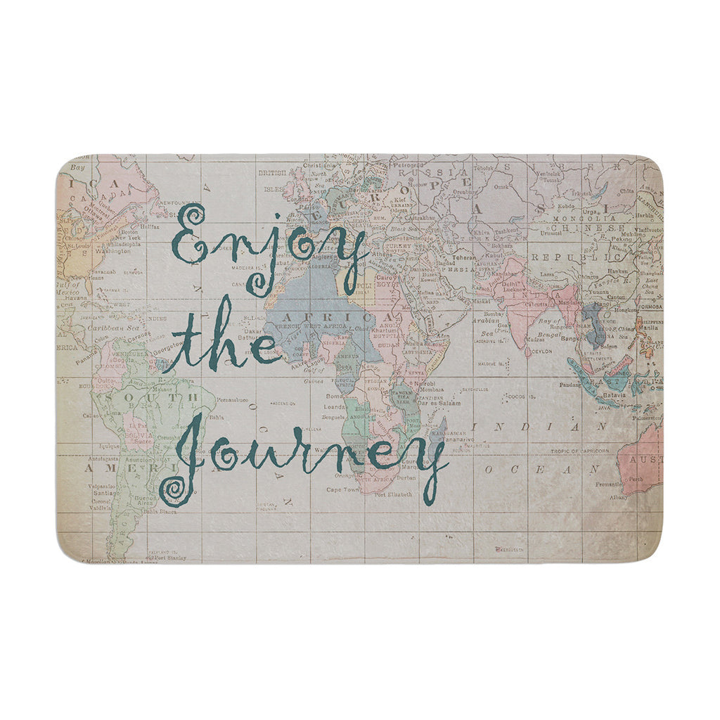 "Catherine Holcombe ""Journey"" World Map Memory Foam Bath Mat - KESS InHouse"