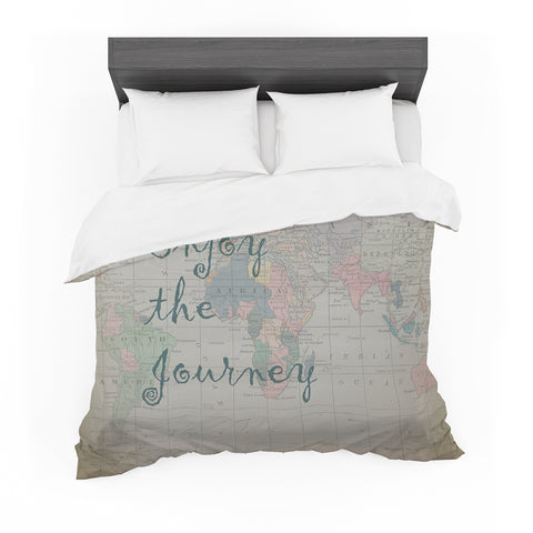 "Catherine Holcombe ""Journey"" World Map Featherweight Duvet Cover - Outlet Item"