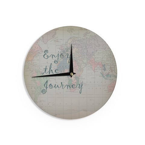 "Catherine Holcombe ""Journey"" World Map Wall Clock - Outlet Item"