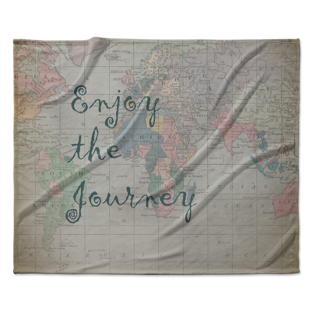"Catherine Holcombe ""Journey"" World Map Fleece Throw Blanket"