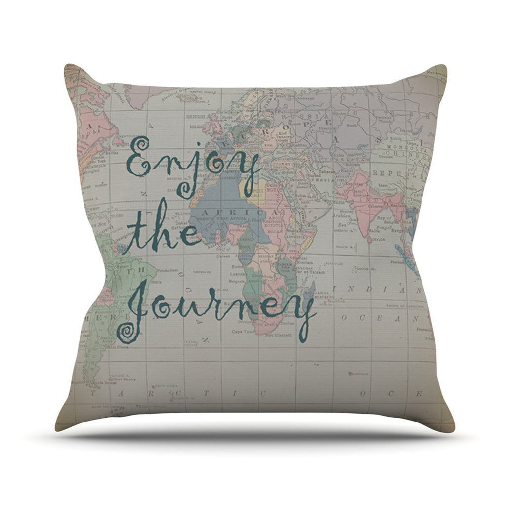 "Catherine Holcombe ""Journey"" World Map Outdoor Throw Pillow - KESS InHouse  - 1"