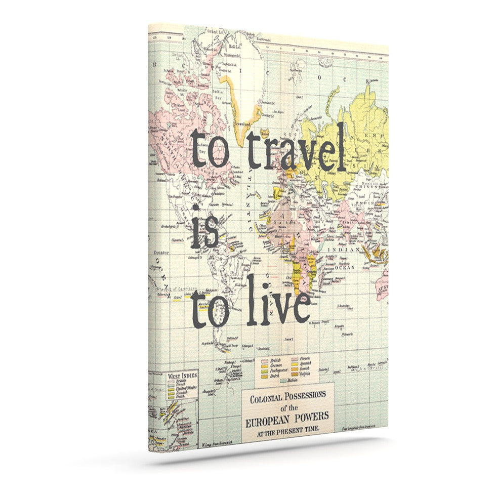 "Catherine Holcombe ""To Travel Is To Live"" Color Map Canvas Art - KESS InHouse  - 1"