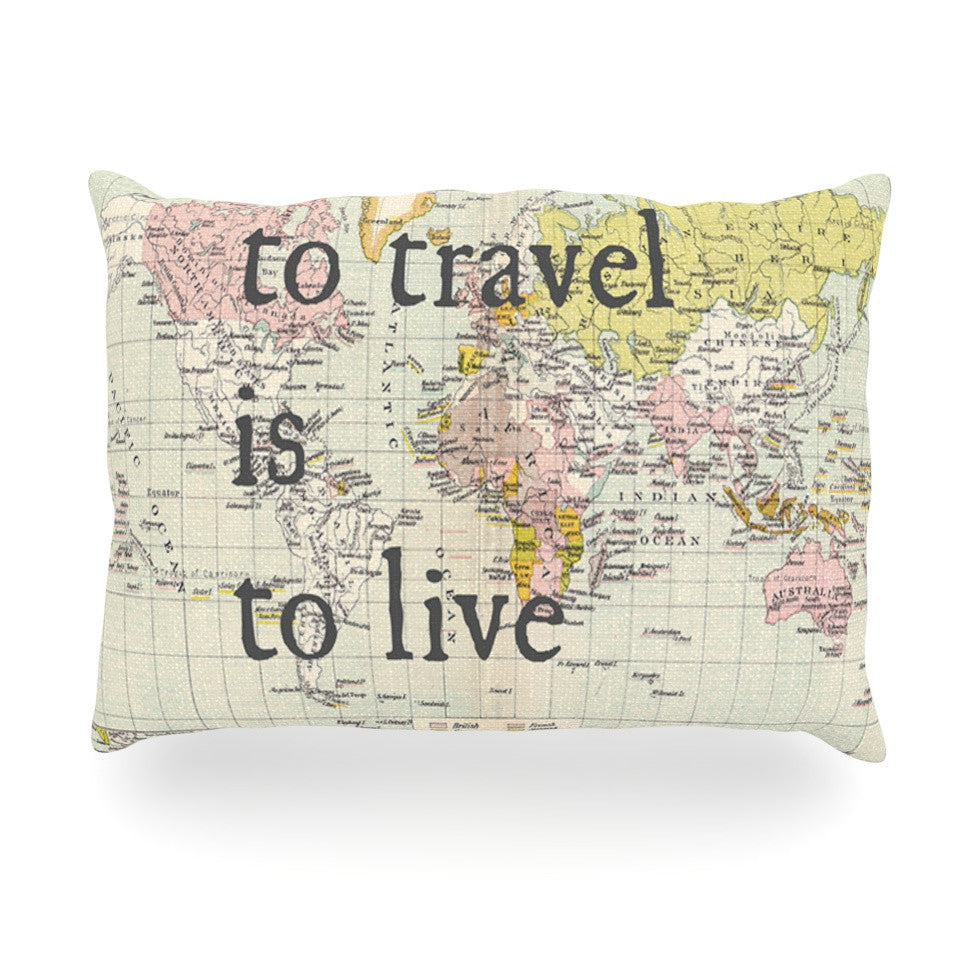 "Catherine Holcombe ""To Travel Is To Live"" Color Map Oblong Pillow - KESS InHouse"