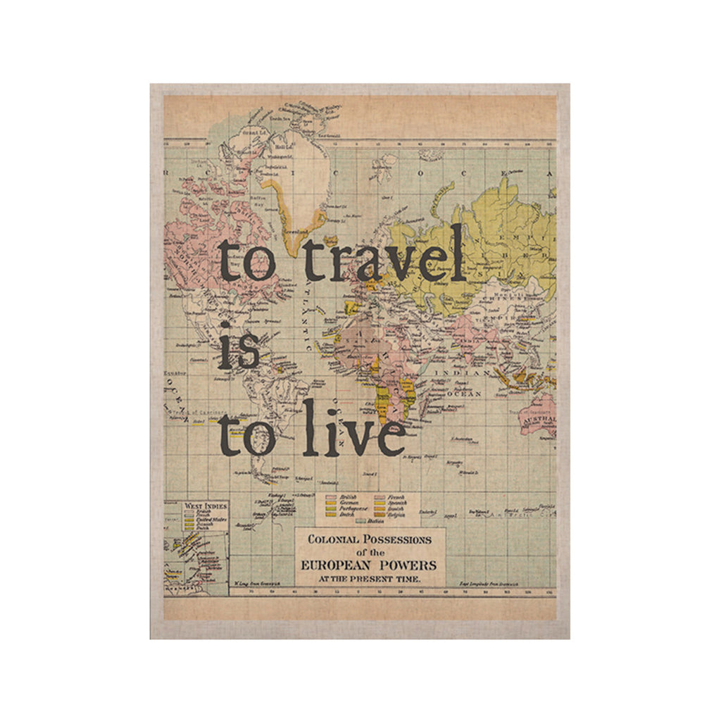 "Catherine Holcombe ""To Travel Is To Live"" Color Map KESS Naturals Canvas (Frame not Included) - KESS InHouse  - 1"