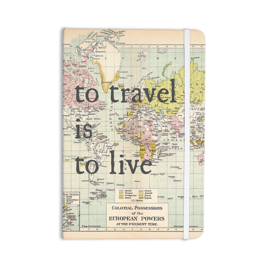 "Catherine Holcombe ""To Travel Is To Live"" Color Map Everything Notebook - KESS InHouse  - 1"