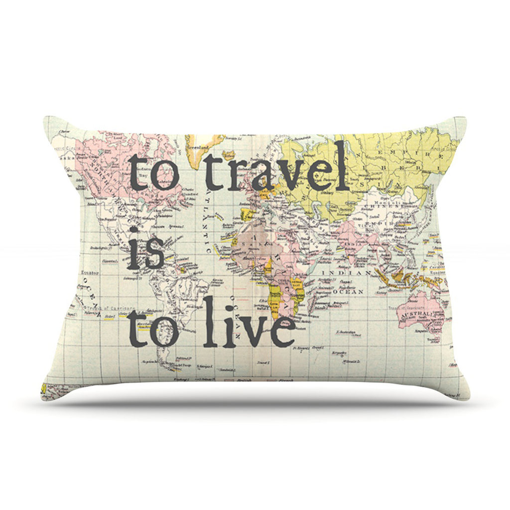 "Catherine Holcombe ""To Travel Is To Live"" Color Map Pillow Sham - KESS InHouse"