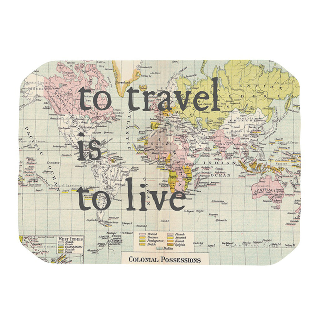 "Catherine Holcombe ""To Travel Is To Live"" Color Map Place Mat - KESS InHouse"
