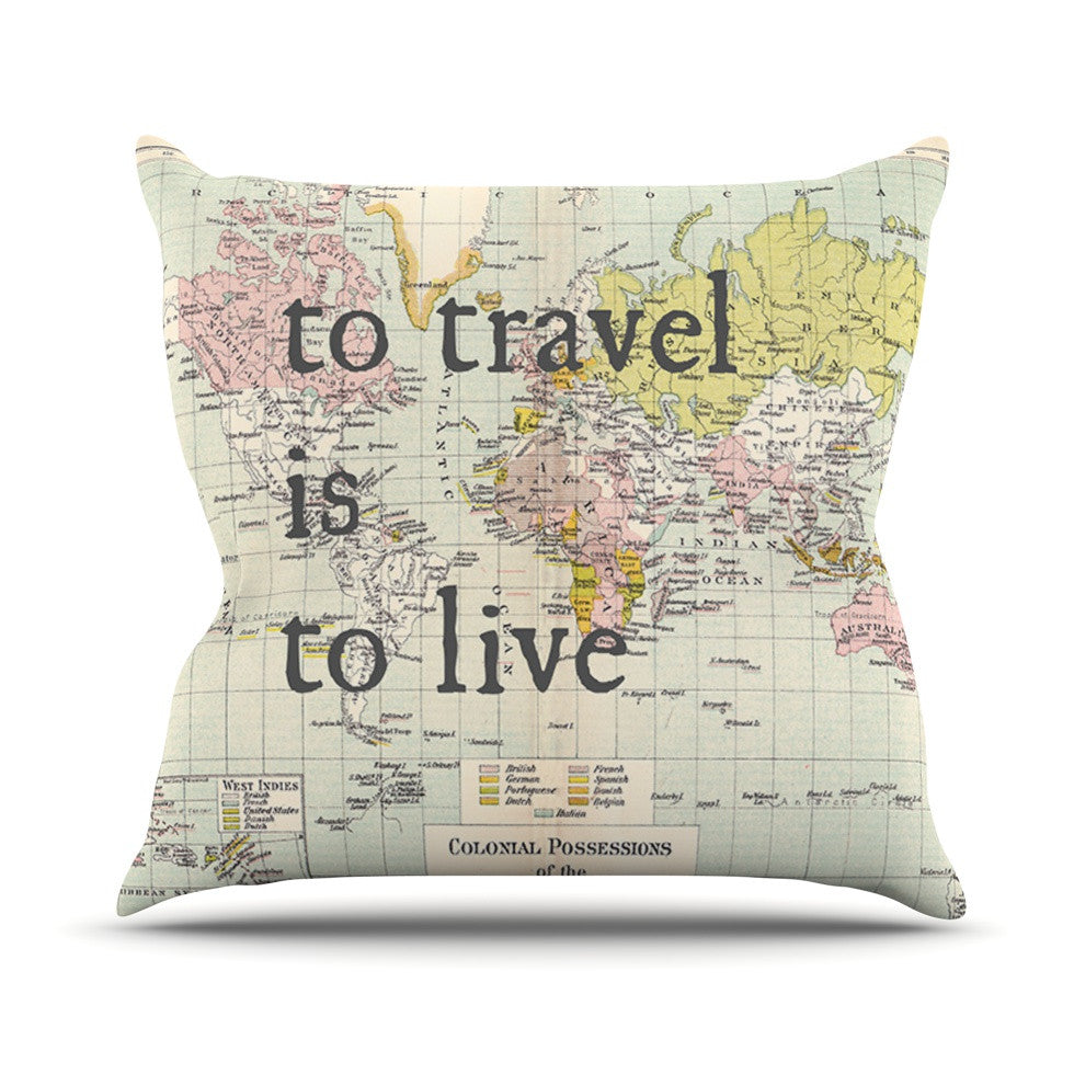 "Catherine Holcombe ""To Travel Is To Live"" Color Map Throw Pillow - KESS InHouse  - 1"