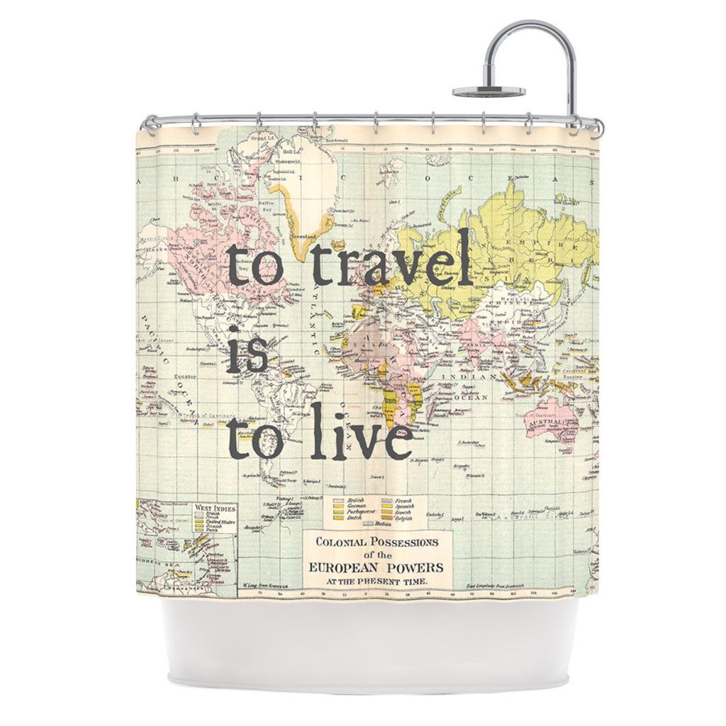 "Catherine Holcombe ""To Travel Is To Live"" Color Map Shower Curtain - KESS InHouse"
