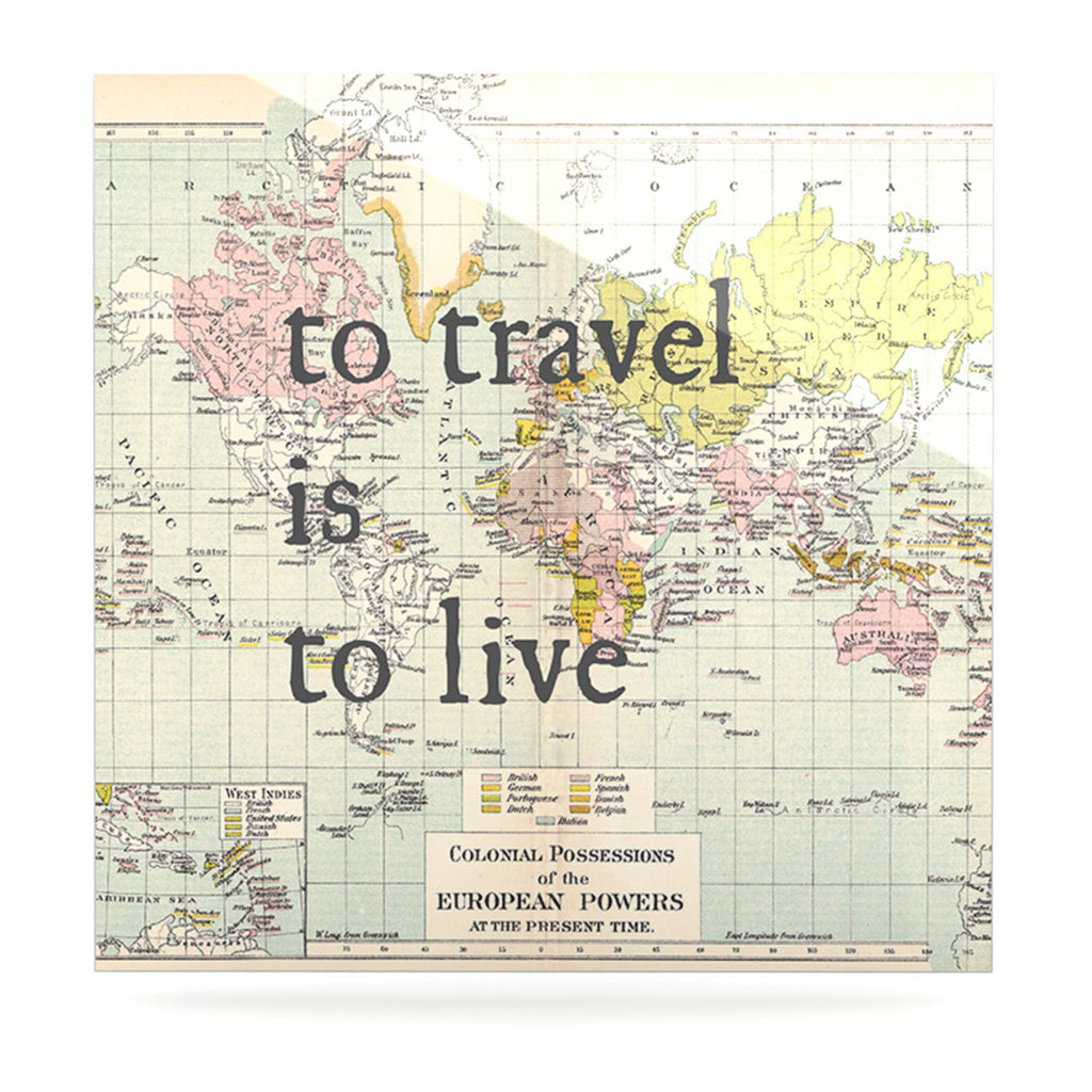 "Catherine Holcombe ""To Travel Is To Live"" Color Map Luxe Square Panel - KESS InHouse  - 1"