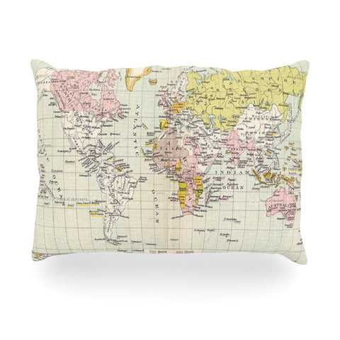 "Catherine Holcombe ""Travel"" World Map Oblong Pillow - KESS InHouse"