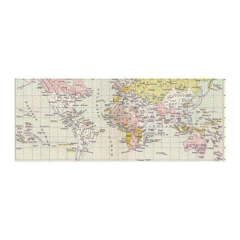 "Catherine Holcombe ""Travel"" World Map Bed Runner - KESS InHouse"