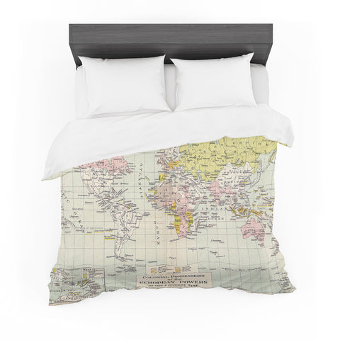 "Catherine Holcombe ""Travel"" World Map Featherweight Duvet Cover - Outlet Item"