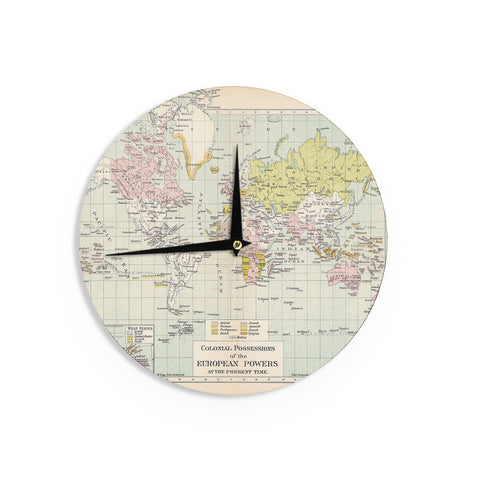 "Catherine Holcombe ""Travel"" World Map Wall Clock - KESS InHouse"