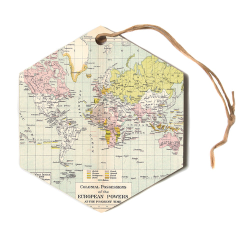 "Catherine Holcombe ""Travel"" World Map Hexagon Holiday Ornament"