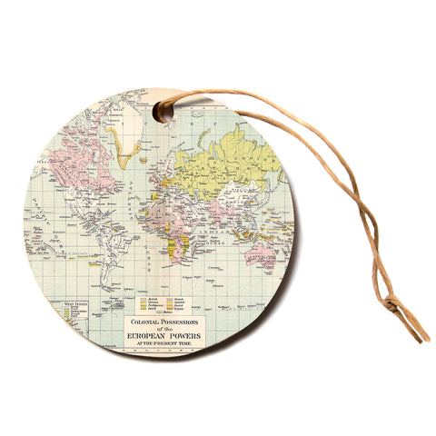 "Catherine Holcombe ""Travel"" World Map Circle Holiday Ornament"