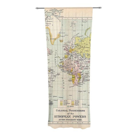 "Catherine Holcombe ""Travel"" World Map Decorative Sheer Curtain - Outlet Item"