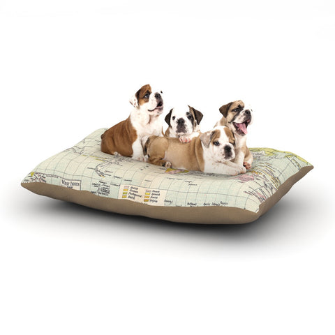 "Catherine Holcombe ""Travel"" World Map Dog Bed - KESS InHouse  - 1"