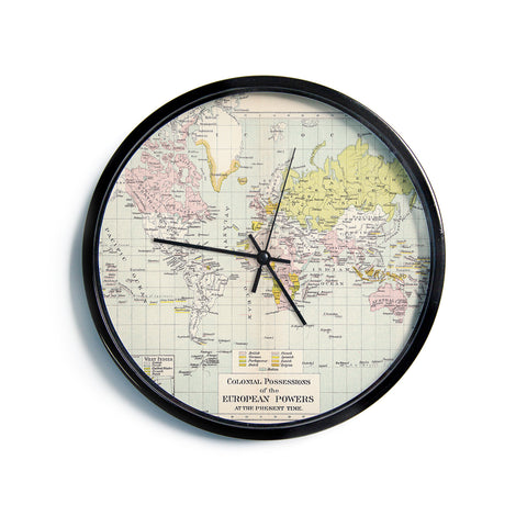 "Catherine Holcombe ""Travel"" World Map Modern Wall Clock"