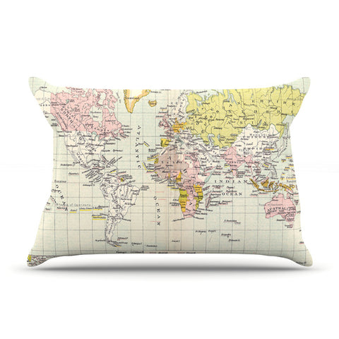 "Catherine Holcombe ""Travel"" World Map Pillow Sham - KESS InHouse"