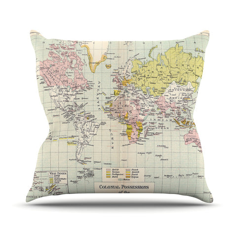 "Catherine Holcombe ""Travel"" World Map Outdoor Throw Pillow - KESS InHouse  - 1"