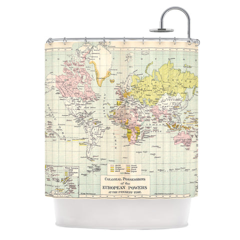 "Catherine Holcombe ""Travel"" World Map Shower Curtain - KESS InHouse"