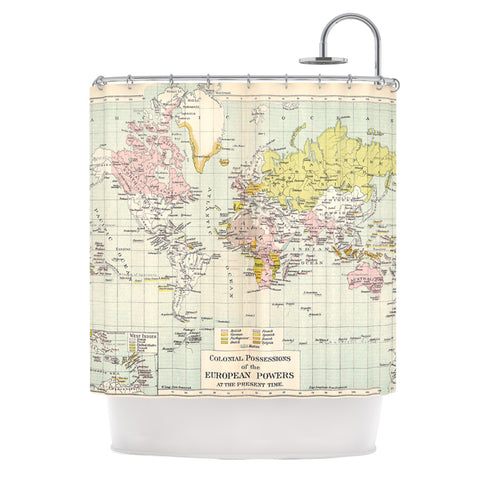 "Catherine Holcombe ""Travel"" World Map Shower Curtain - Outlet Item"