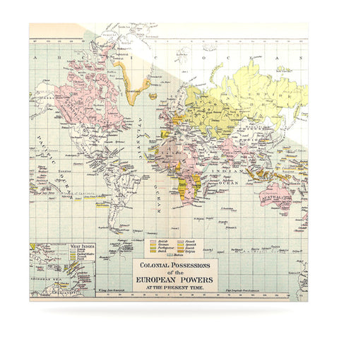 "Catherine Holcombe ""Travel"" World Map Luxe Square Panel - KESS InHouse  - 1"
