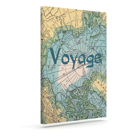 "Catherine Holcombe ""Voyage"" Teal Map Canvas Art - KESS InHouse  - 1"