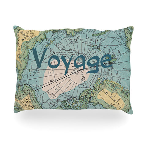 "Catherine Holcombe ""Voyage"" Teal Map Oblong Pillow - KESS InHouse"