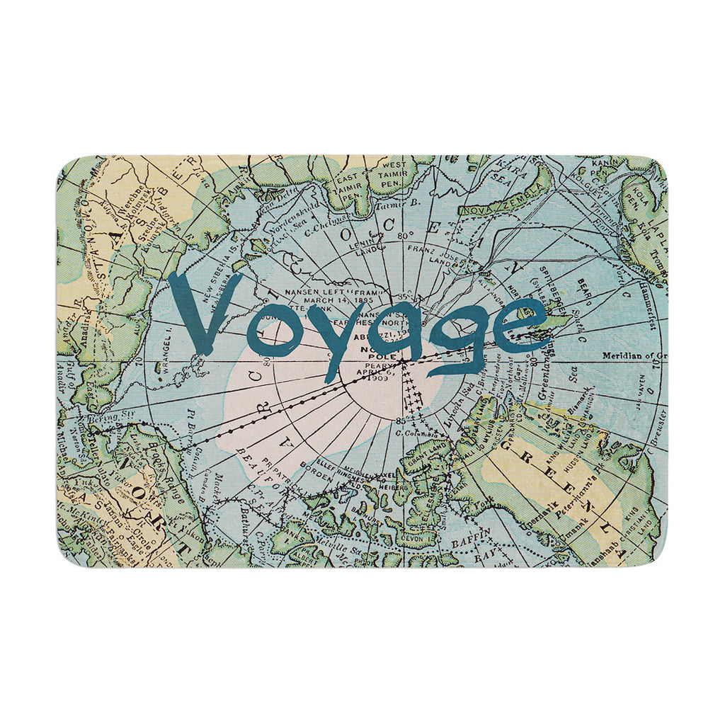 "Catherine Holcombe ""Voyage"" Teal Map Memory Foam Bath Mat - KESS InHouse"