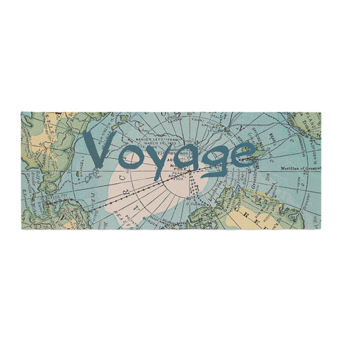 "Catherine Holcombe ""Voyage"" Teal Map Bed Runner - KESS InHouse"