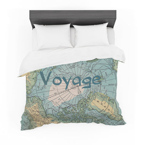 "Catherine Holcombe ""Voyage"" Teal Map Featherweight Duvet Cover"