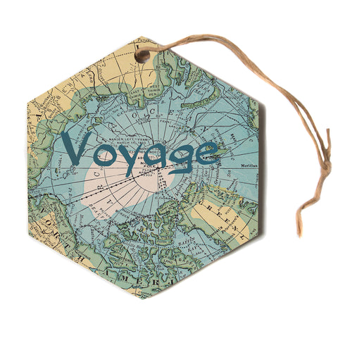 "Catherine Holcombe ""Voyage"" Teal Map Hexagon Holiday Ornament"