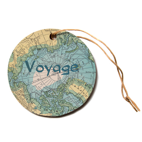 "Catherine Holcombe ""Voyage"" Teal Map Circle Holiday Ornament"