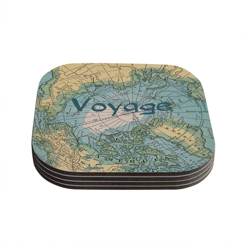 "Catherine Holcombe ""Voyage"" Teal Map Coasters (Set of 4)"
