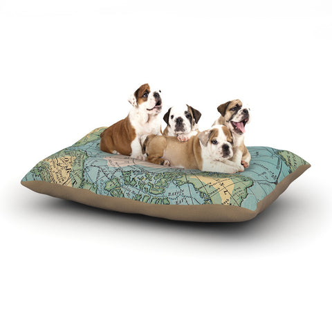 "Catherine Holcombe ""Voyage"" Teal Map Dog Bed - KESS InHouse  - 1"