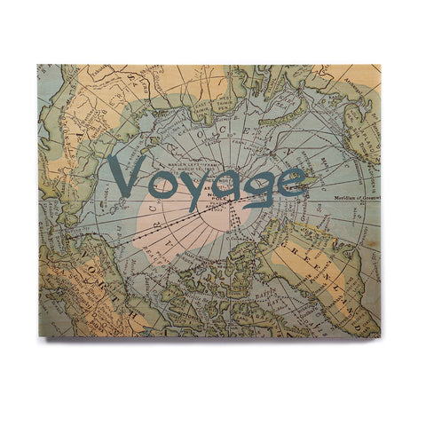 "Catherine Holcombe ""Voyage"" Teal Map Birchwood Wall Art - KESS InHouse  - 1"