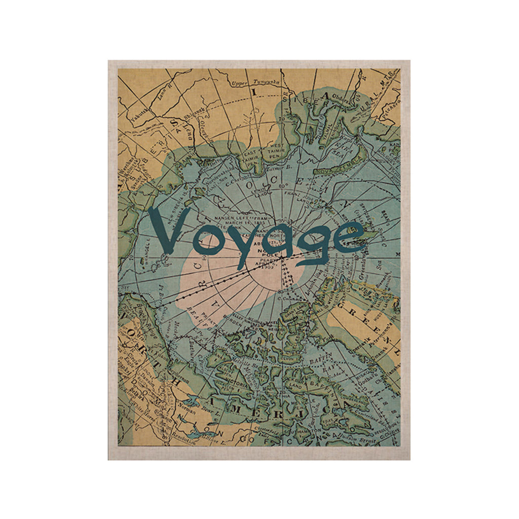"Catherine Holcombe ""Voyage"" Teal Map KESS Naturals Canvas (Frame not Included) - KESS InHouse  - 1"